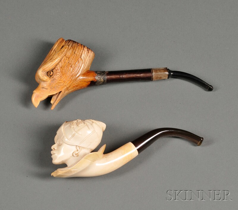 Two Carved Meerschaum Pipes