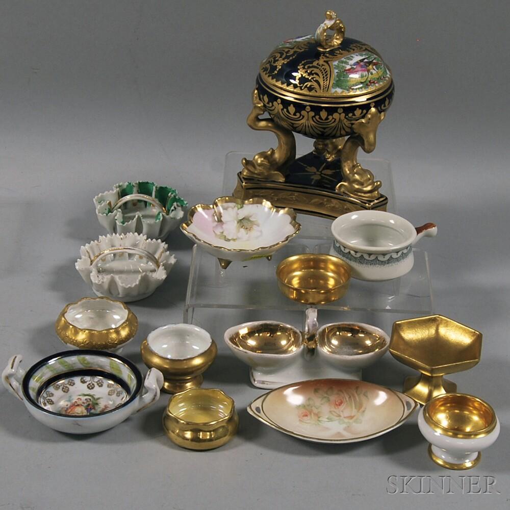 Thirteen European Gilt Porcelain Salts and a Potpourri