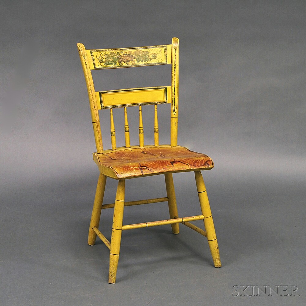 Paint-decorated Thumb-back Windsor Side Chair and a One-drawer Drop-leaf Stand