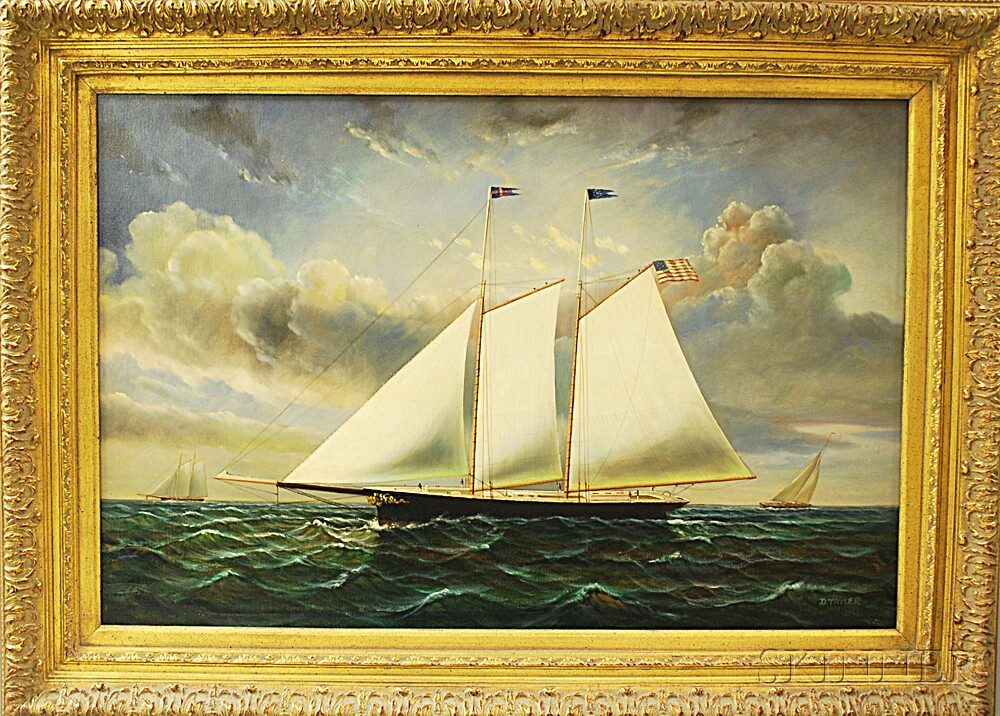 D. Tayler (American, 20th Century)       Yacht at Sea.