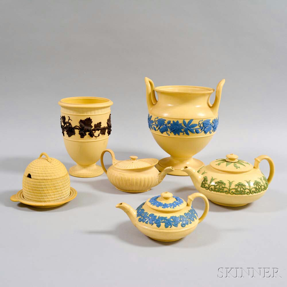 Six Pieces of Wedgwood Caneware