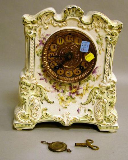 William L. Gilbert Italian-style Transfer and Handpainted Porcelain Mantel Clock