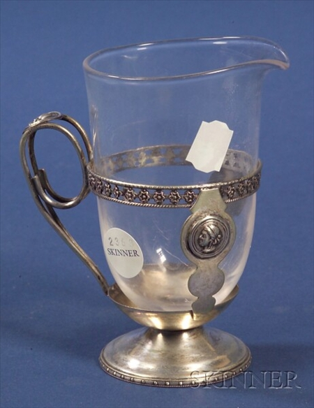 Medallion Pattern Silver Plate and Steuben Colorless Glass Milk Jug