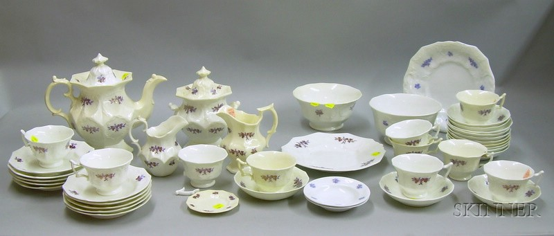 Forty-three Piece English Chelsea Sprigware Tea Service.