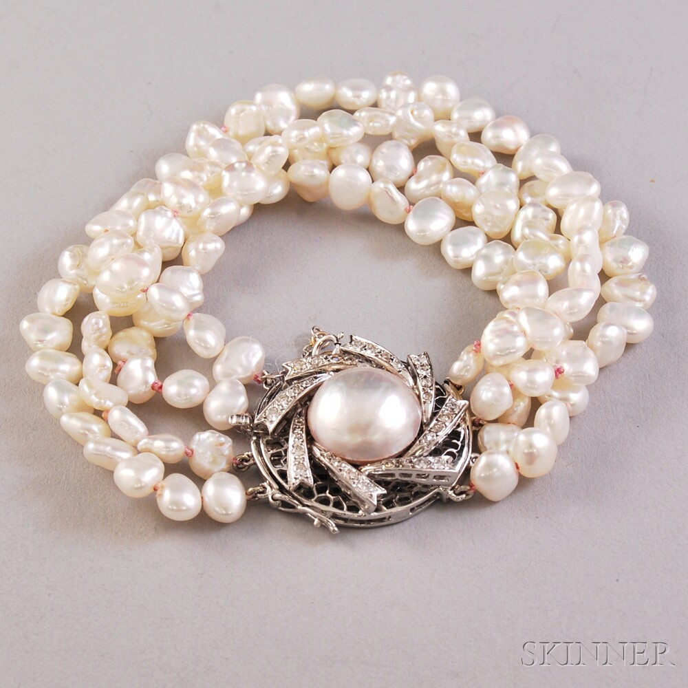 Multi Strand Freshwater Pearl Bracelet With 14kt White Gold Mabe