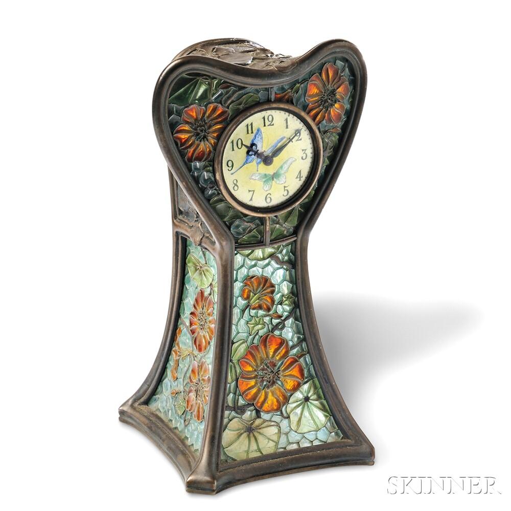 Art Nouveau Plique-a-Jour Enamel Table Clock, Eugene Feuillatre