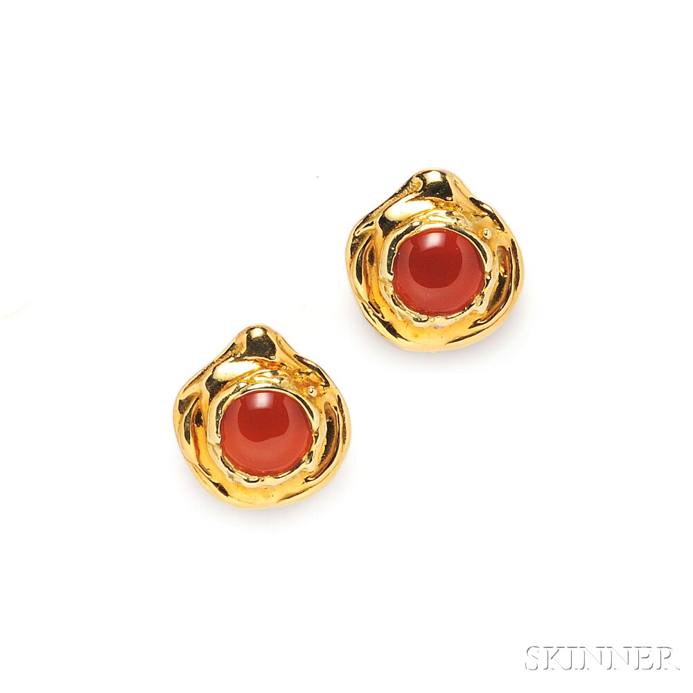 18kt Gold and Carnelian Earclips, Elizabeth Gage