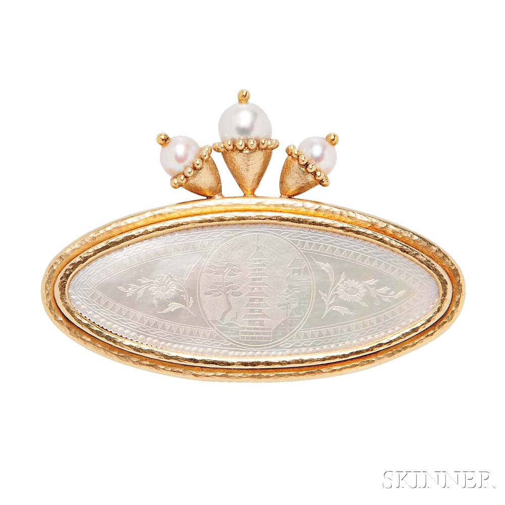 18kt Gold and Mother-of-pearl Chinese Gambling Counter Brooch, Elizabeth Locke