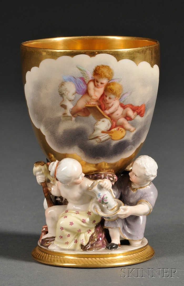 Dresden Painted Porcelain Chalice