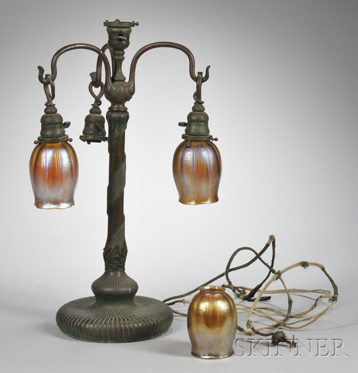 Tiffany Favrile Glass and Bronze Lamp