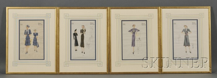 Lot of Four Framed Fashion Plates,