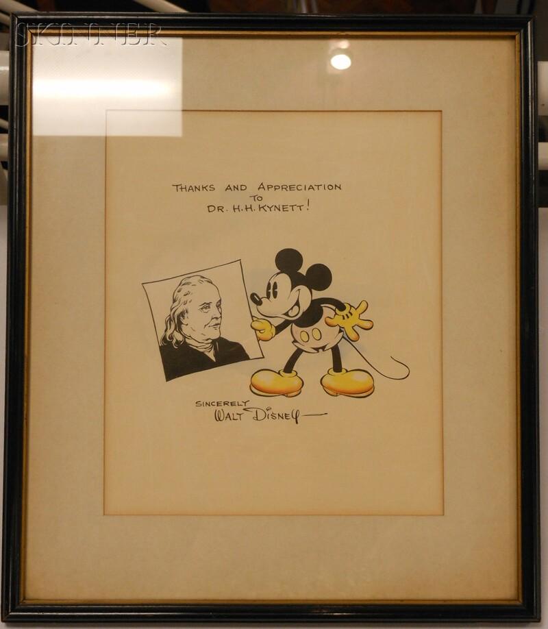 Walt Elias Disney (American, 1901-1966)      Mickey Mouse and Ben Franklin, with Walt Disney Letter