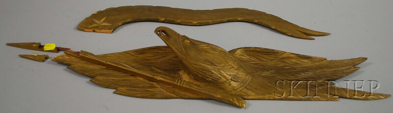 Gold-painted Bellamy-type Carved Pine American Eagle with Banner Plaque