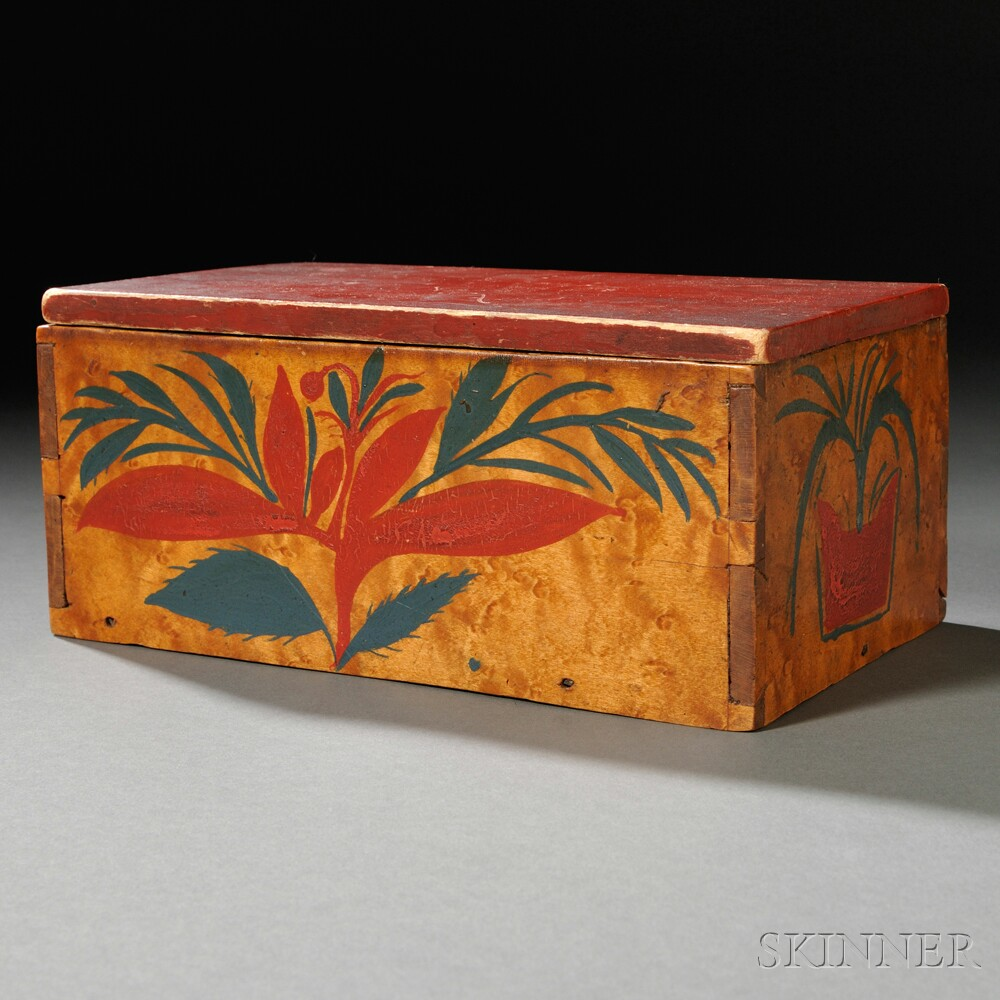 Small Floral Paint-decorated Bird's-eye Maple Box