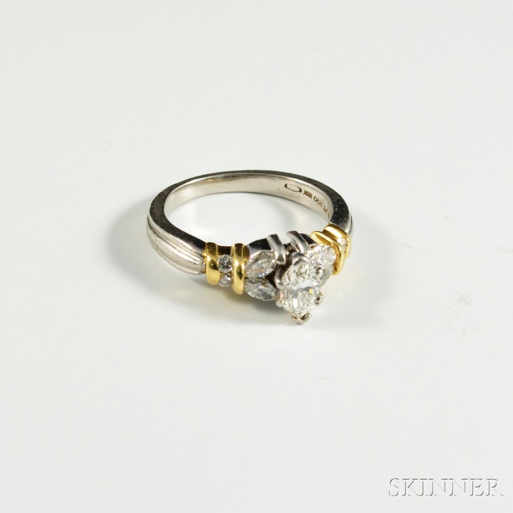 Platinum, 18kt Gold, and Diamond Ring