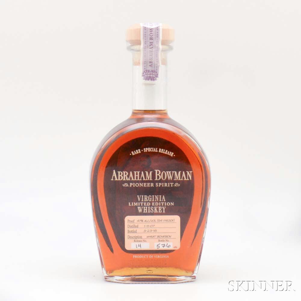 Abraham Bowman Wheat Bourbon, 1 750ml bottle
