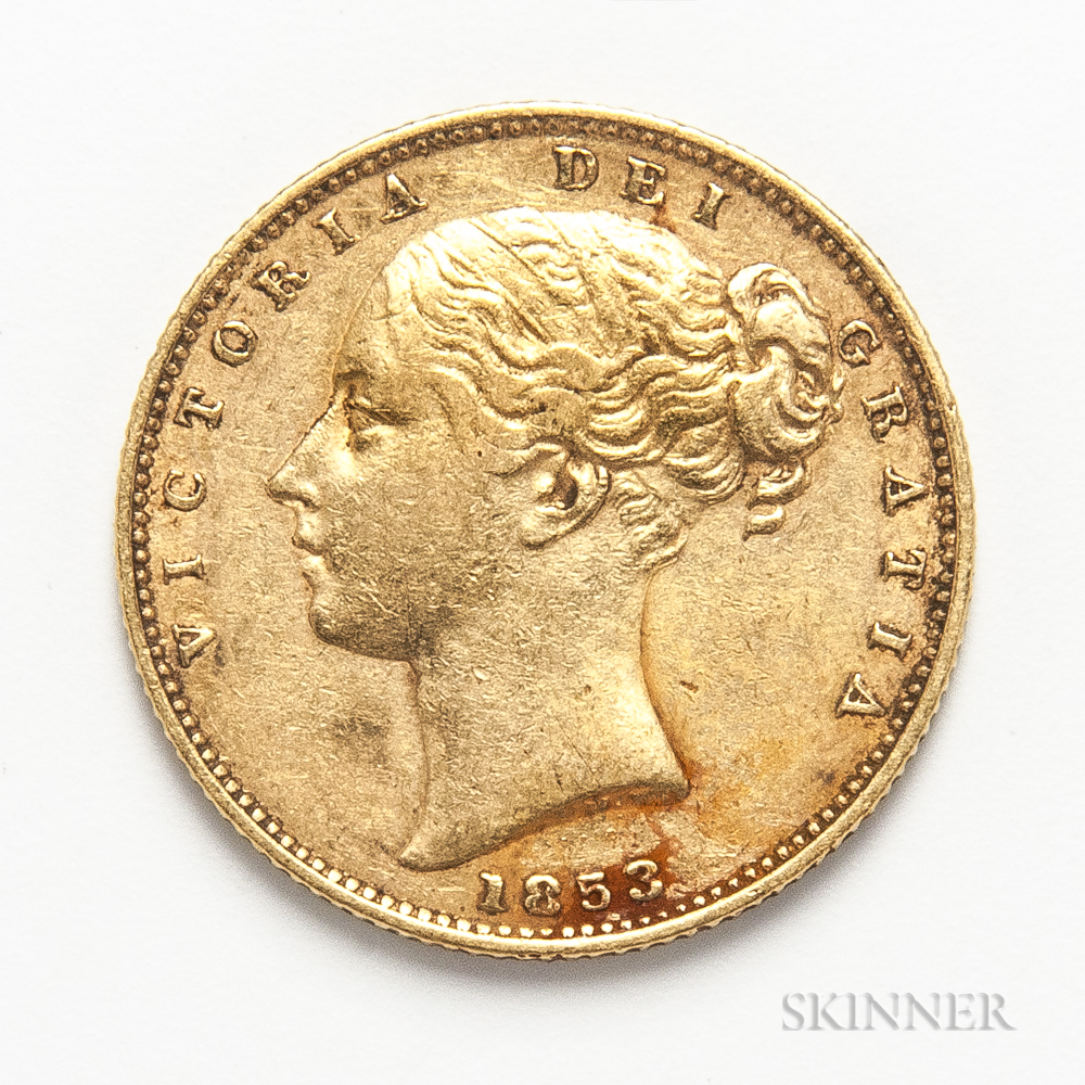 1853 British Gold Sovereign.     Estimate $300-500