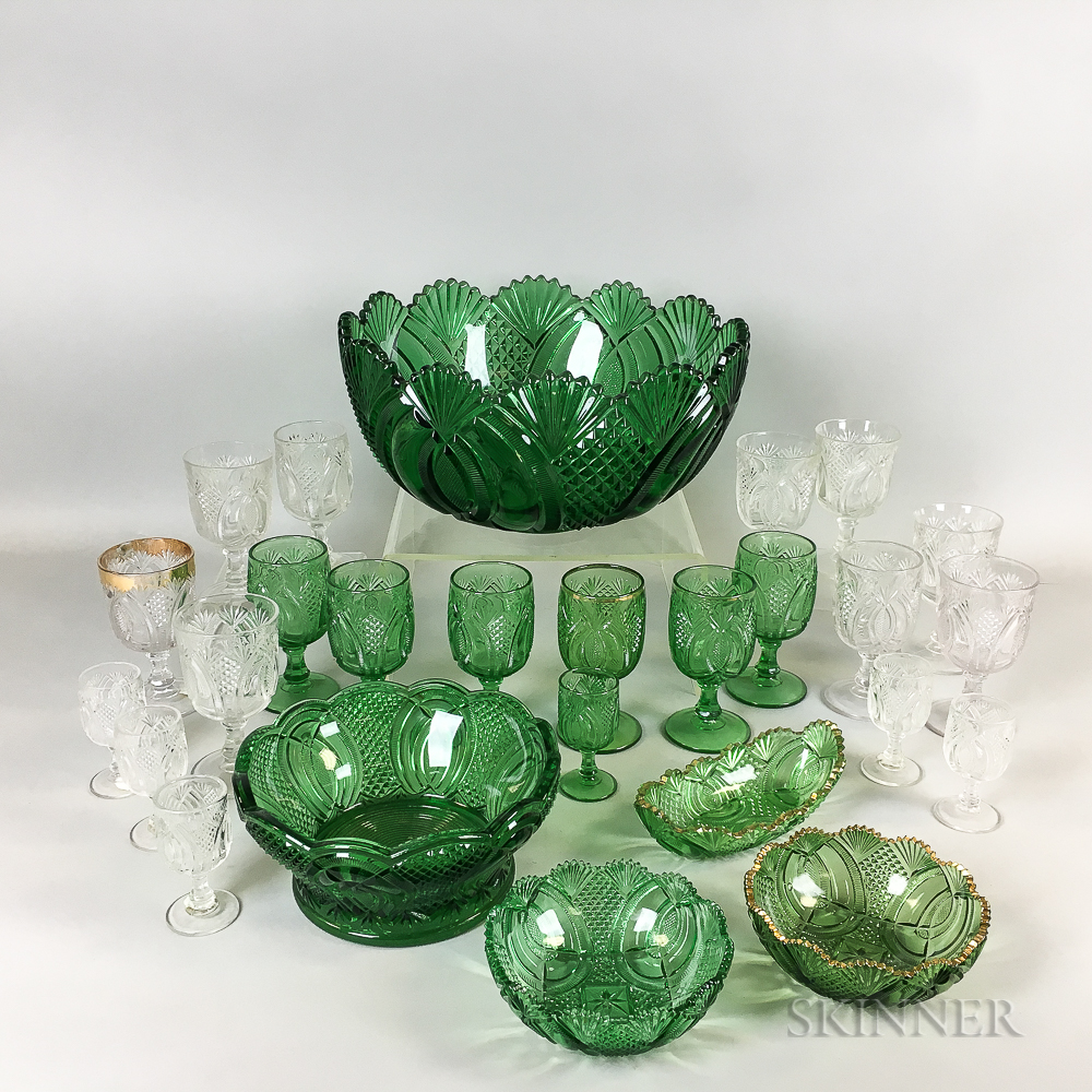 Twenty-six Pieces of McKee Glass Co. Hickman-pattern Tableware