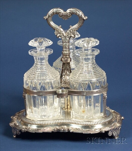 William IV Silver Three Bottle Cordial Stand
