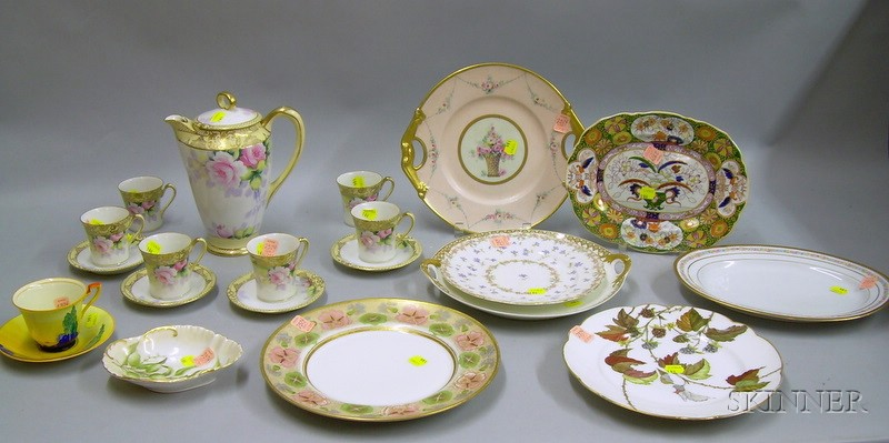 Eleven-piece Noritake Floral Decorated Porcelain Chocolate Set and Nine Pieces of   Assorted Mostly Porcelain Tableware
