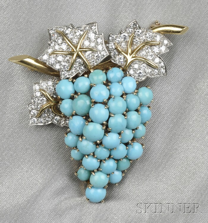 Platinum, 14kt Gold, Turquoise, and Diamond Grape Brooch