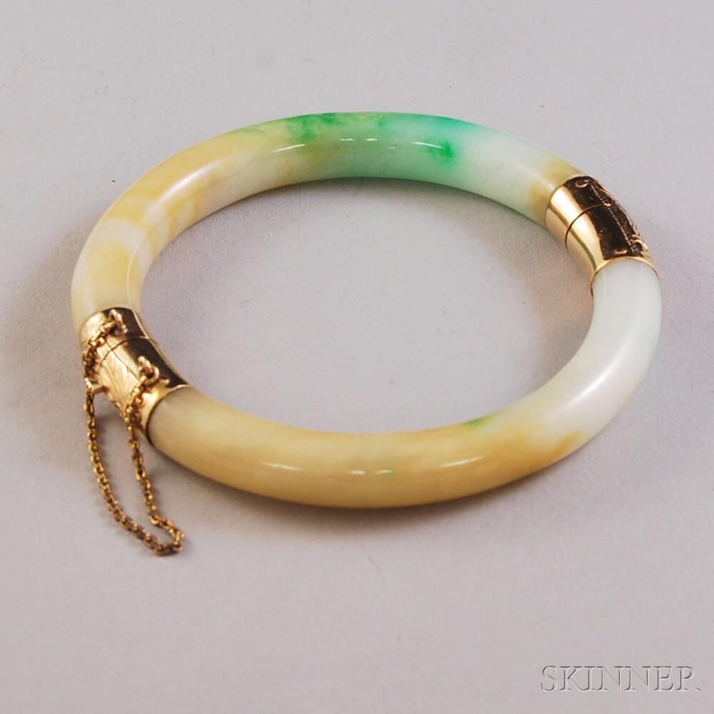 14kt Gold and Jade Hinged Bangle Bracelet