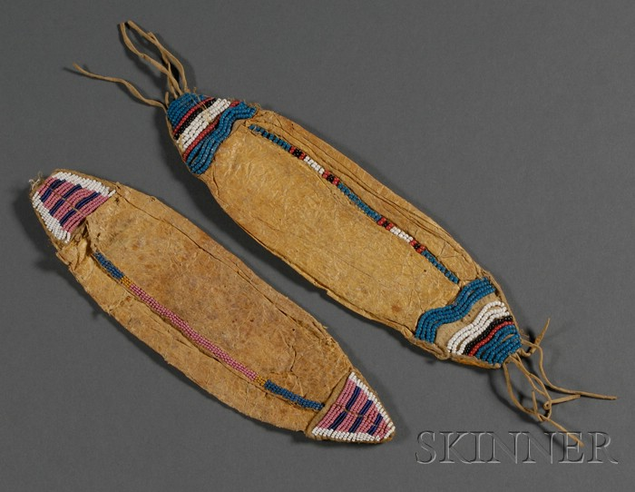 Two Central Plains Beaded Hide Bladder Pouches