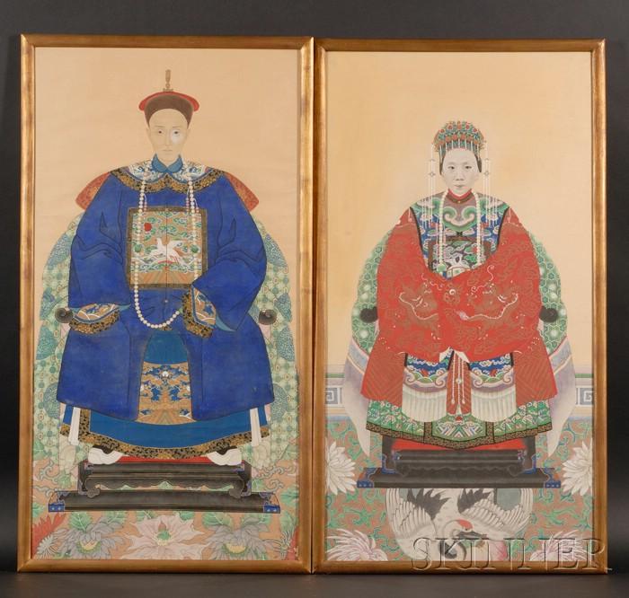 Pair of Framed Ancestral Portraits