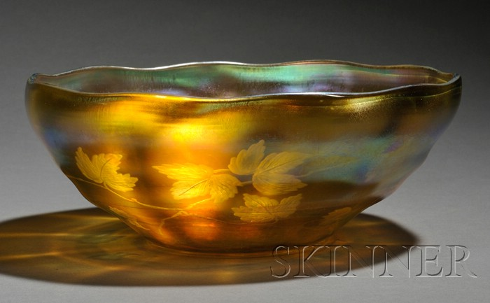 Tiffany Gold Favrile Decorated Bowl