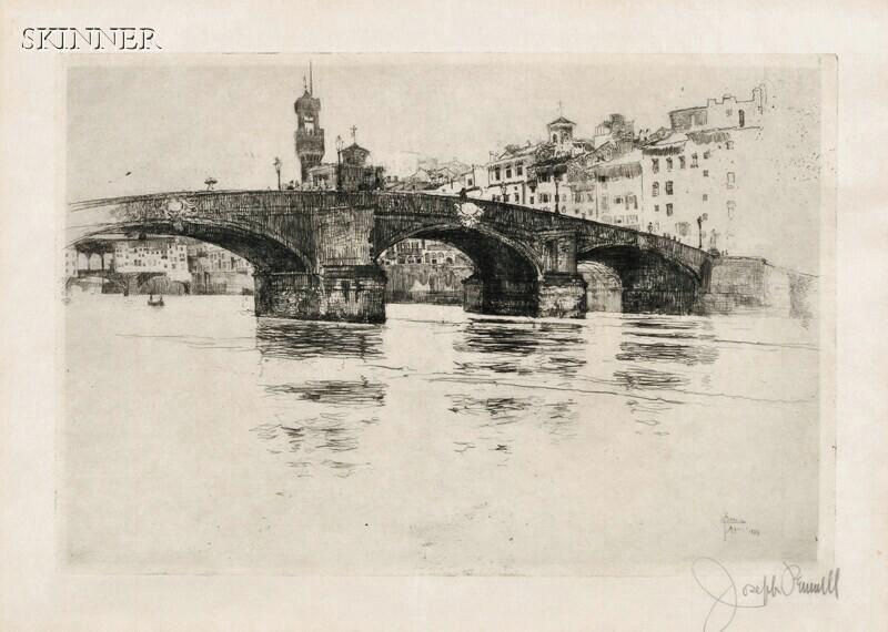 Joseph Pennell (American, 1860-1926)      Ponte San Trinita (Florence)