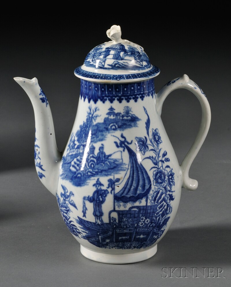 Worcester Porcelain Fisherman   Pattern Coffeepot and Cover