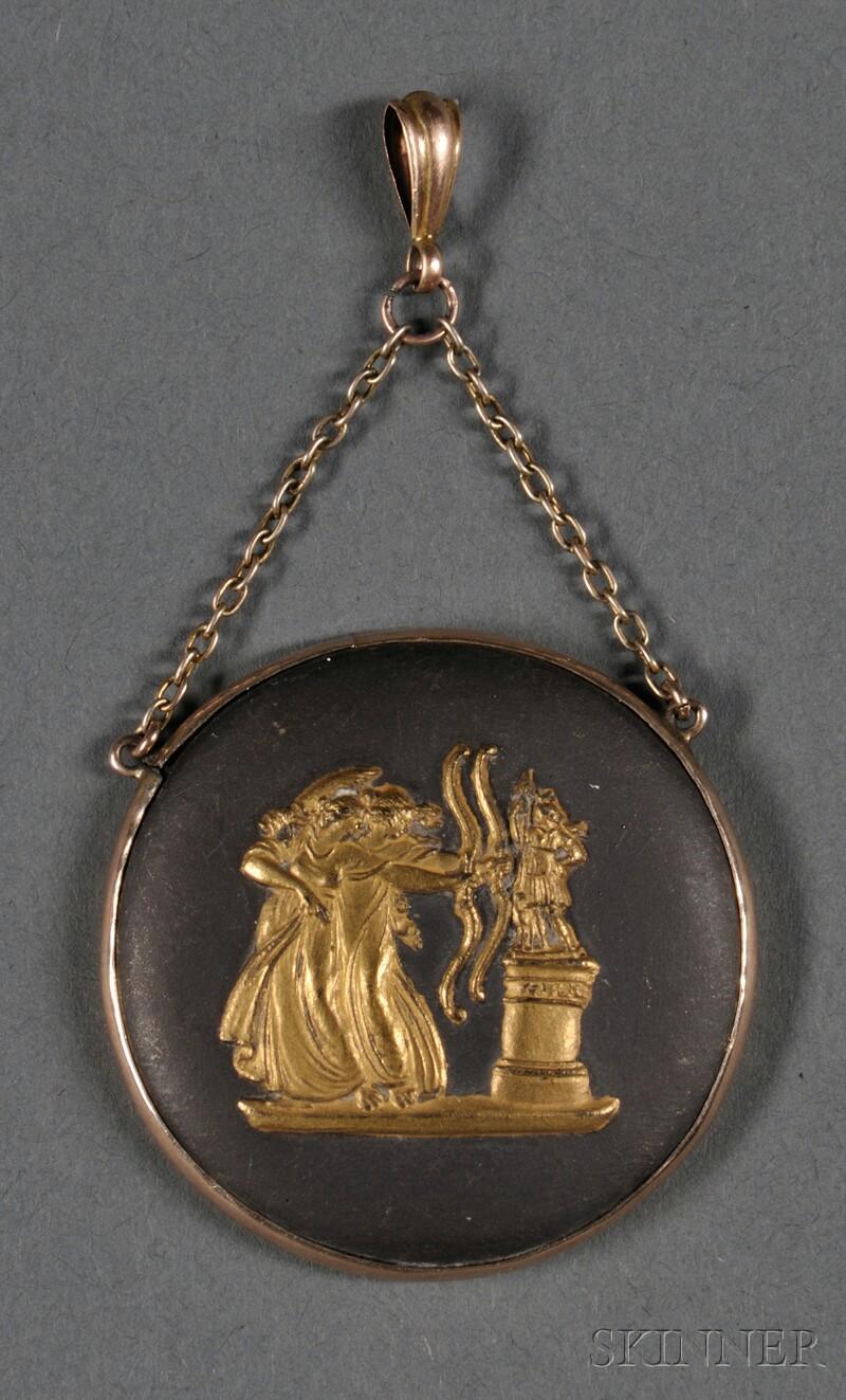 Wedgwood Gilded Black Basalt Medallion