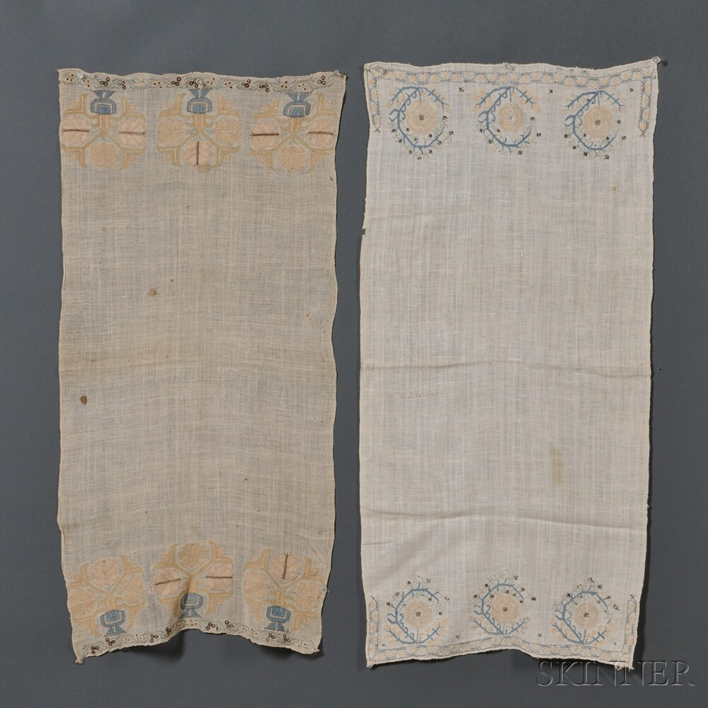 Two Embroidered Linen Show Towels