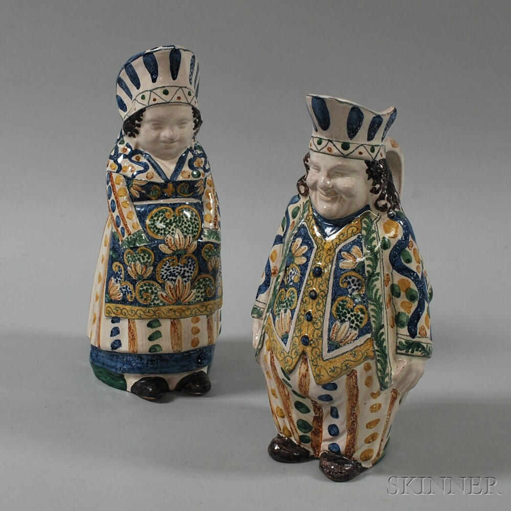 Pair of Tin-glazed Polychrome Figural Pottery Pitchers