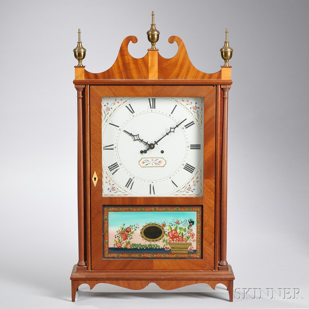 Elmer Stennes Pillar and Scroll Shelf Clock