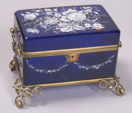 French Enamel Decorated Cobalt Glass and Brass Bound Box