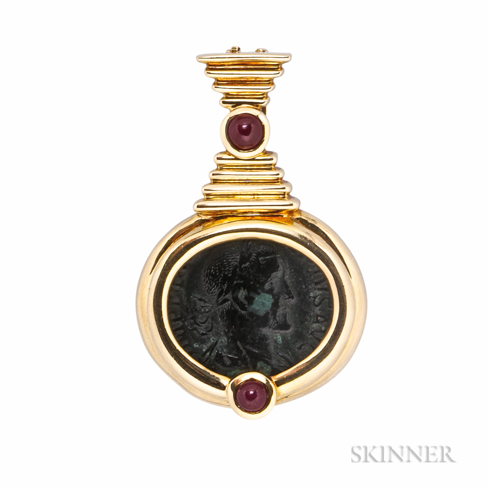 18kt Gold and Ancient Bronze Coin Pendant