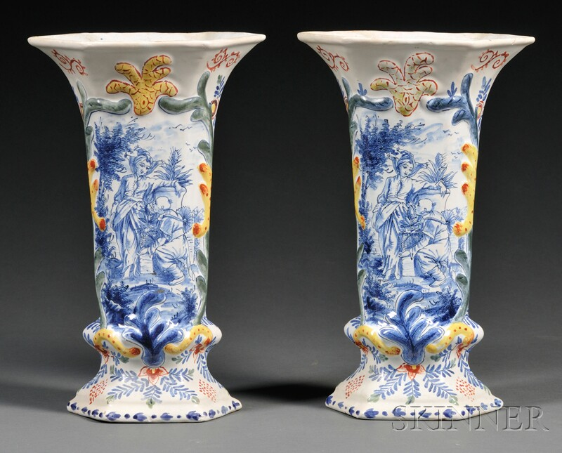 Pair of Dutch Delft Polychrome Decorated Vases