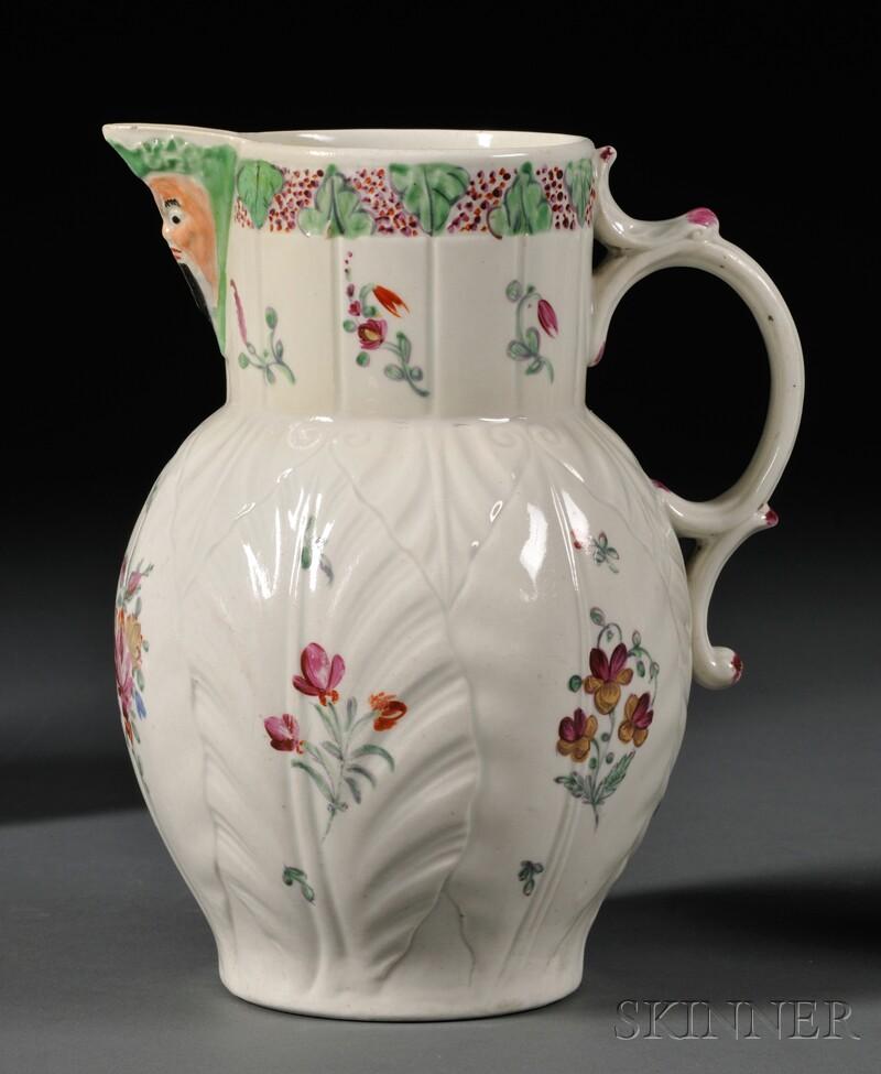 Worcester Porcelain Cabbage Leaf and Mask Jug