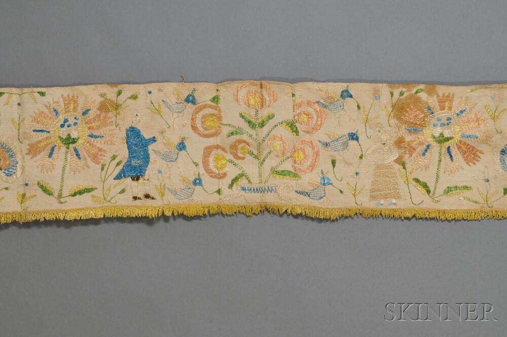 Silk on Linen Floral and Figural Embroidered Valance