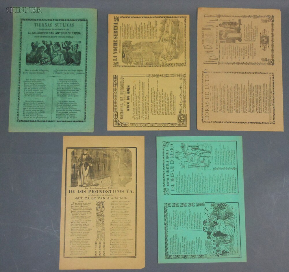 José Guadalupe Posada (Mexican, 1851-1913)      Five Double-sided Pages: Despues del Balle