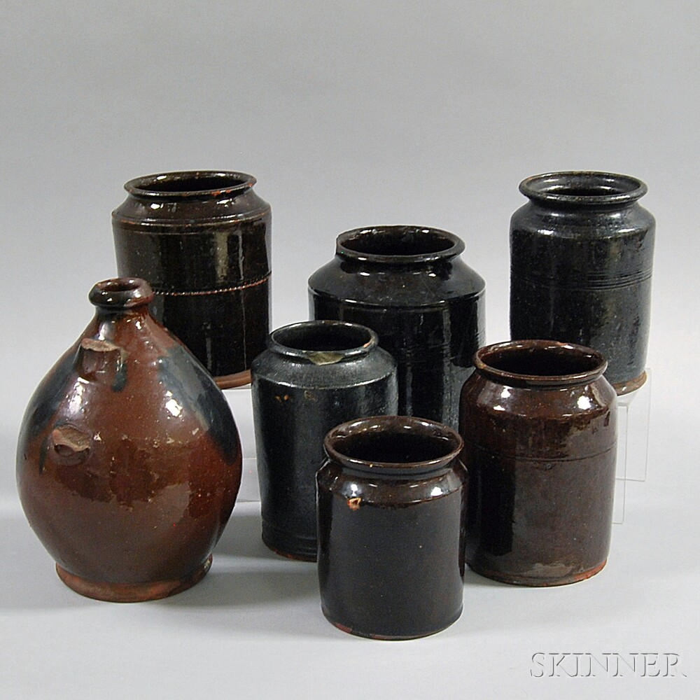 Seven Redware Vessels