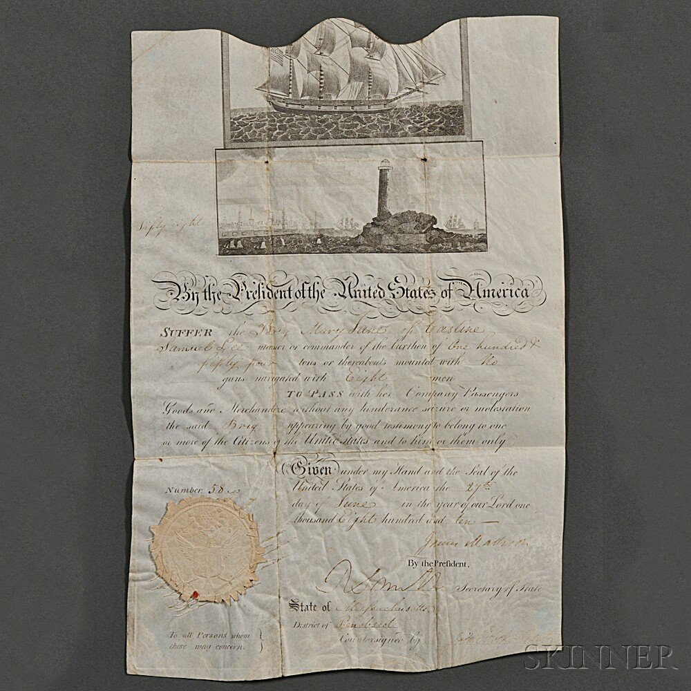 Madison, James (1751-1836) Signed Parchment Document, Ship's Passport, 27 June 1810.