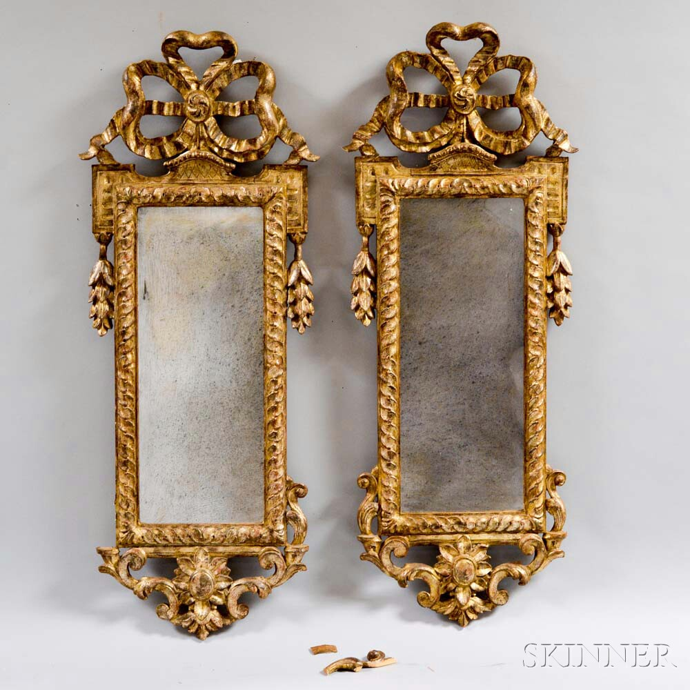 Pair of Neoclassical-style Gilt Mirrors