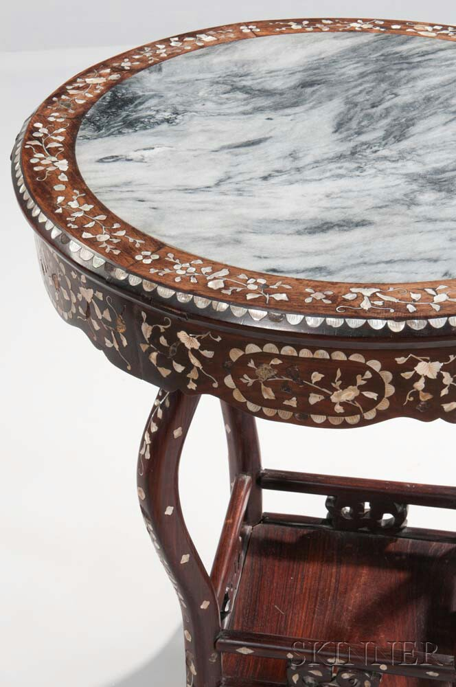 Marble Inlay Table Tops : Hardwood marble top inlaid table sale number b lot