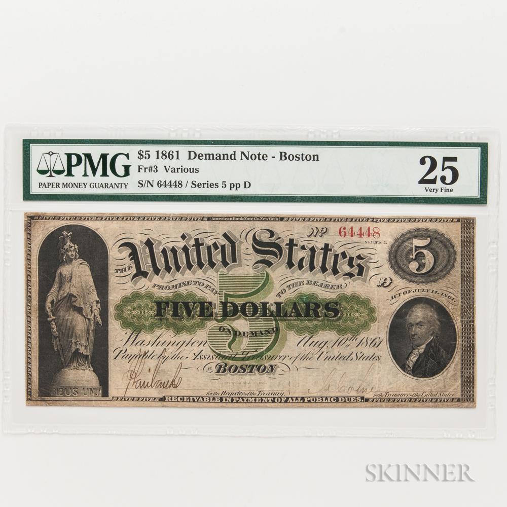 1861 $5 Demand Note, Boston, Fr. 3, PMG Very Fine 25