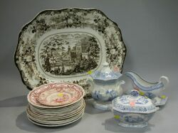 Nineteen Pieces of Transfer Decorated Staffordshire.