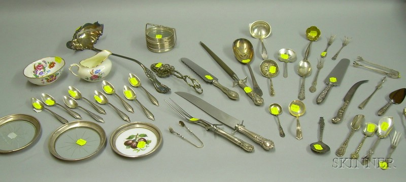 Approximately Forty-seven Pieces of Sterling and Silver Plated Flatware and Table   Items