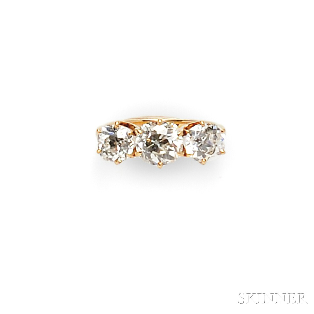 14kt Gold and Diamond Three stone Ring