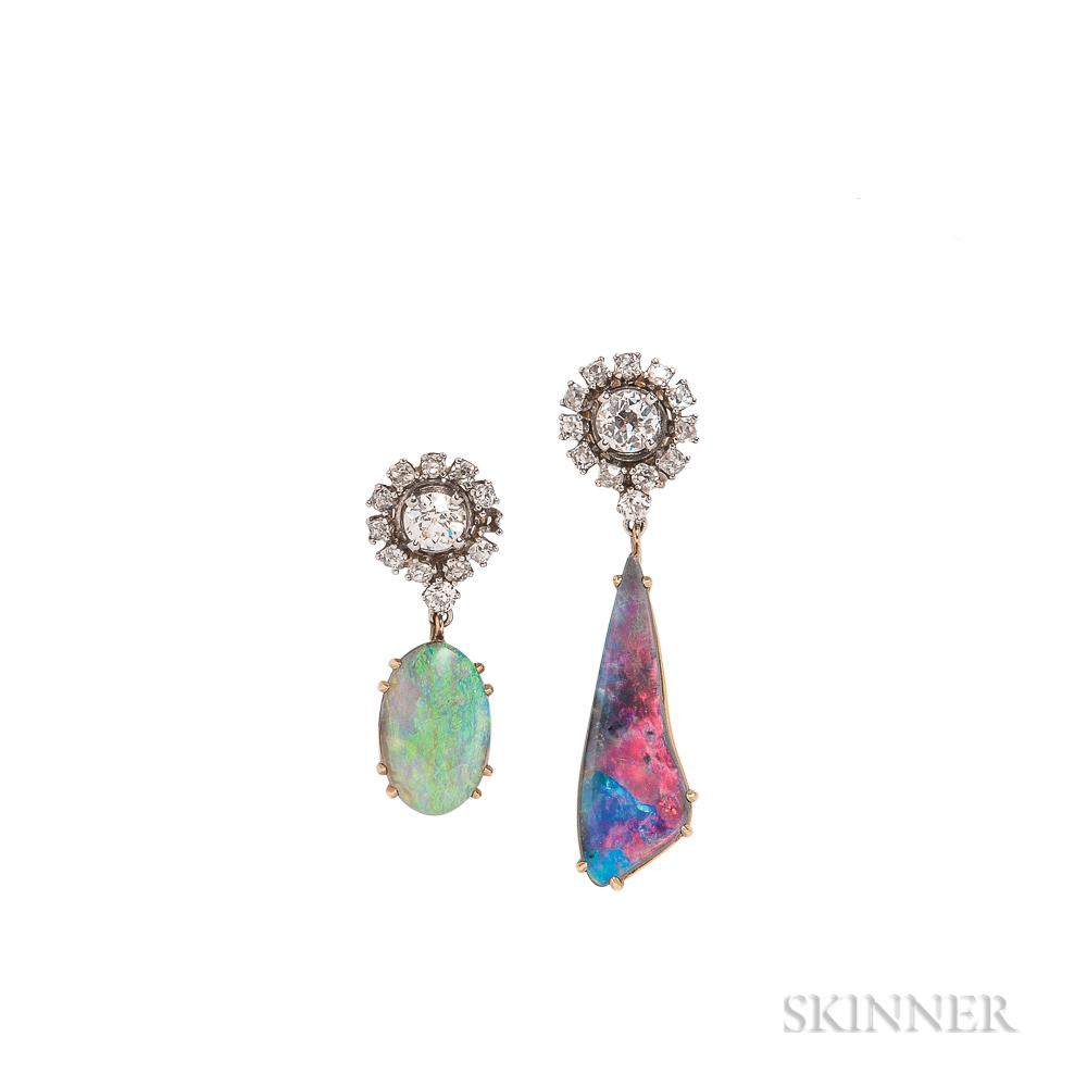 Diamond and Opal Day/Night Earrings